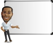 Handsome African American Man Cartoon Vector Character - Showing on Big whiteboard