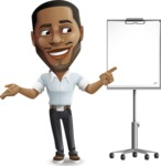 Handsome African American Man Cartoon Vector Character - with a Blank Presentation board