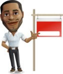 Handsome African American Man Cartoon Vector Character - with Blank Real estate sign