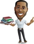 Handsome African American Man Cartoon Vector Character - with Books