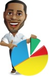 Handsome African American Man Cartoon Vector Character - with Business graph