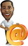 Handsome African American Man Cartoon Vector Character - with Email sign