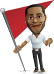 Handsome African American Man Cartoon Vector Character - with Flag