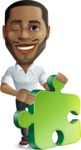 Handsome African American Man Cartoon Vector Character - with Puzzle