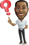 Handsome African American Man Cartoon Vector Character - with Question mark