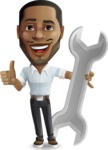 Handsome African American Man Cartoon Vector Character - with Repairing tool wrench