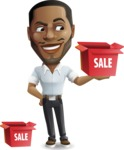 Handsome African American Man Cartoon Vector Character - with Sale boxes