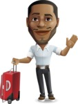 Handsome African American Man Cartoon Vector Character - with Suitcase