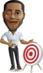 Handsome African American Man Cartoon Vector Character - with Target