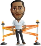 Handsome African American Man Cartoon Vector Character - with Under Construction sign