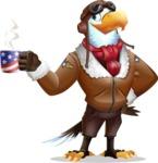 Eagle Aviator Cartoon Vector Character - Drinking Coffee