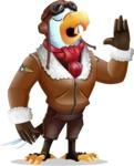 Eagle Aviator Cartoon Vector Character - Feeling Bored