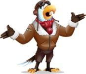 Eagle Aviator Cartoon Vector Character - Feeling Lost