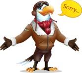 Eagle Aviator Cartoon Vector Character - Feeling sorry