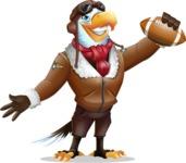 Eagle Aviator Cartoon Vector Character - Holding a football