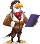Eagle Aviator Cartoon Vector Character - Holding a notepad