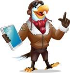 Eagle Aviator Cartoon Vector Character - Holding an iPad