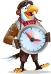 Eagle Aviator Cartoon Vector Character - Holding clock
