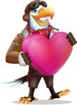 Eagle Aviator Cartoon Vector Character - Holding heart