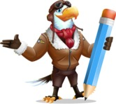 Eagle Aviator Cartoon Vector Character - Holding Pencil