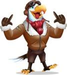 Eagle Aviator Cartoon Vector Character - Making Funny face
