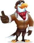 Eagle Aviator Cartoon Vector Character - Making Thumbs Up