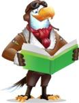 Eagle Aviator Cartoon Vector Character - Reading a book