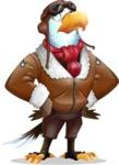 Eagle Aviator Cartoon Vector Character - Rolling Eyes