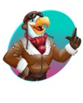 Eagle Aviator Cartoon Vector Character - Shape 1