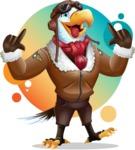 Eagle Aviator Cartoon Vector Character - Shape 10