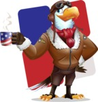 Eagle Aviator Cartoon Vector Character - Shape 12