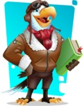 Eagle Aviator Cartoon Vector Character - Shape 9