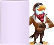 Eagle Aviator Cartoon Vector Character - Showing Big Blank banner