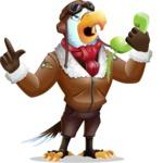 Eagle Aviator Cartoon Vector Character - Talking on phone