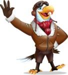 Eagle Aviator Cartoon Vector Character - Waving