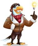 Eagle Aviator Cartoon Vector Character - with a Light bulb