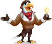 Eagle Aviator Cartoon Vector Character - with an Idea