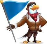 Eagle Aviator Cartoon Vector Character - with Flag