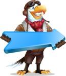 Eagle Aviator Cartoon Vector Character - with Positive arrow