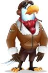 Eagle Aviator Cartoon Vector Character - with Sad face