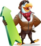 Eagle Aviator Cartoon Vector Character - with Up arrow