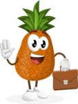 Cute Pineapple Cartoon Vector Character AKA Sweetson Exotic - Being Businessman with Briefcase