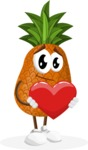 Cute Pineapple Cartoon Vector Character AKA Sweetson Exotic - Being Romantic With Heart
