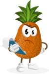 Cute Pineapple Cartoon Vector Character AKA Sweetson Exotic - Being Sad Holding a Notepad