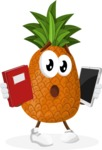 Cute Pineapple Cartoon Vector Character AKA Sweetson Exotic - Choosing between Book and Tablet