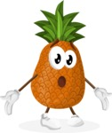 Cute Pineapple Cartoon Vector Character AKA Sweetson Exotic - Feeling Lost with Sad Face