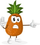 Cute Pineapple Cartoon Vector Character AKA Sweetson Exotic - Finger pointing with angry face