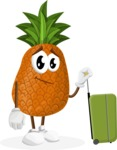 Cute Pineapple Cartoon Vector Character AKA Sweetson Exotic - Going to vacation with a Suitcase