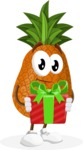 Cute Pineapple Cartoon Vector Character AKA Sweetson Exotic - Holding a Gift