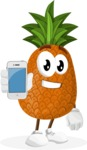 Cute Pineapple Cartoon Vector Character AKA Sweetson Exotic - Holding a Mobile Phone